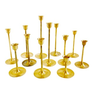 Collection of Vintage Brass Candle Holders - Set of 12 For Sale