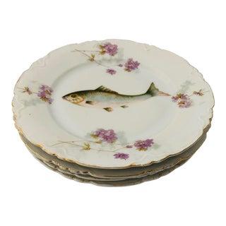 "Fish & Violets Salad Plates Carlsbad Austria S-4 8.25"" For Sale"