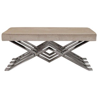 Mid-Century Modern Chrome and Upholstered Zig Zag Bench For Sale