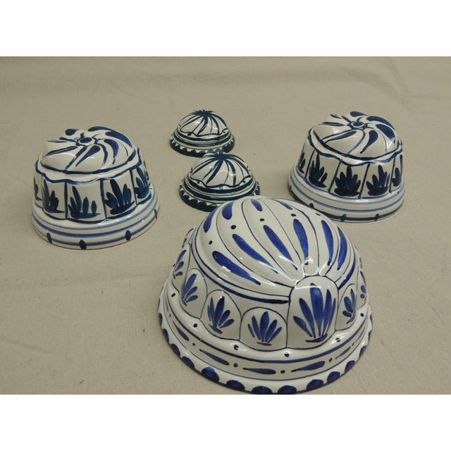 Antique Blue and White Faience Molds - Set of 5 - Image 3 of 4