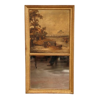 19th Century French Hand-Painted Trumeau Mirror in Giltwood Frame For Sale