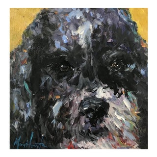"""Curly Black Dog"" Dog Portrait Painting For Sale"