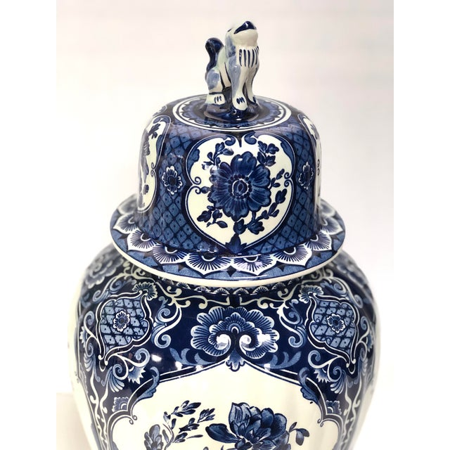 Delft Mid-20th Century Dutch Painted Blue and White Faience Delft Ginger Jar For Sale - Image 4 of 12