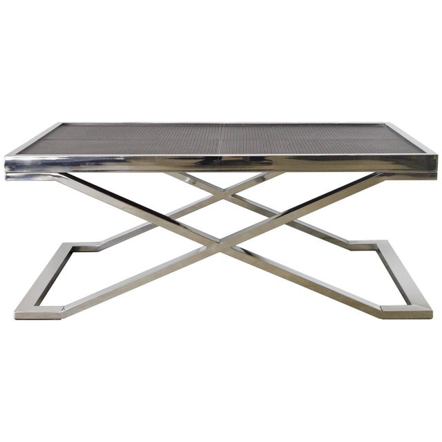 Metal Dark Brown Leather and Stainless Steel Coffee Table by Fabio Ltd For Sale - Image 7 of 7