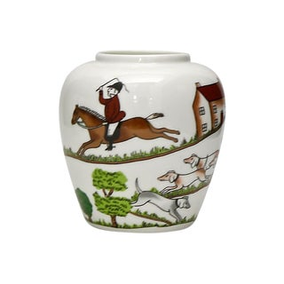 Crown Staffordshire English Hunting Scene Vase For Sale