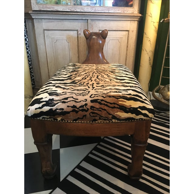 Vintage 1950s Wooden Tiger Bench For Sale In West Palm - Image 6 of 6