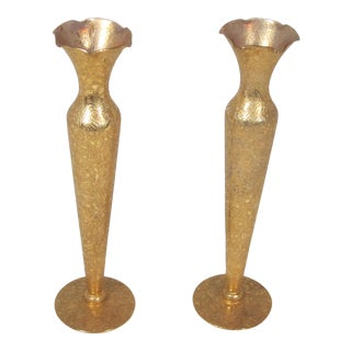 1970s Hollywood Regency Gold Bud Vases - a Pair For Sale
