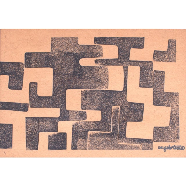Angelo Testa 1950s Angelo Testa Signed Geometric Abstract Red & Yellow Prints - a Pair For Sale - Image 4 of 8