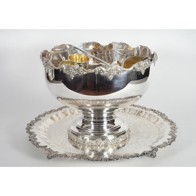 Vintage English Georgian Style Silver Plated & Copper Punch Bowl Set of 15 For Sale - Image 11 of 12