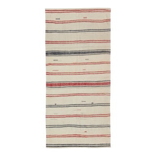 Turkish Kilim Rug With Horizontal Stripes in Red and Blue, Cream Background For Sale
