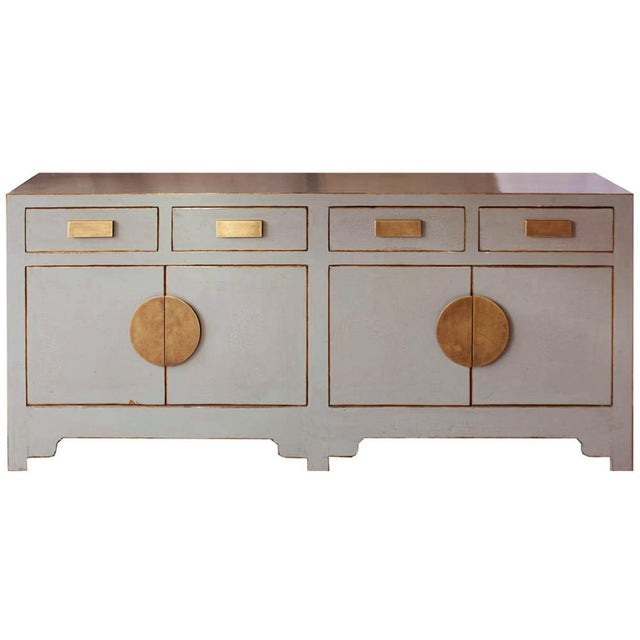 Gold Contemporary Gray Crackle Sideboard For Sale - Image 8 of 8