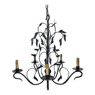 Currey and Company Arcadia Five Light Iron Chandelier For Sale