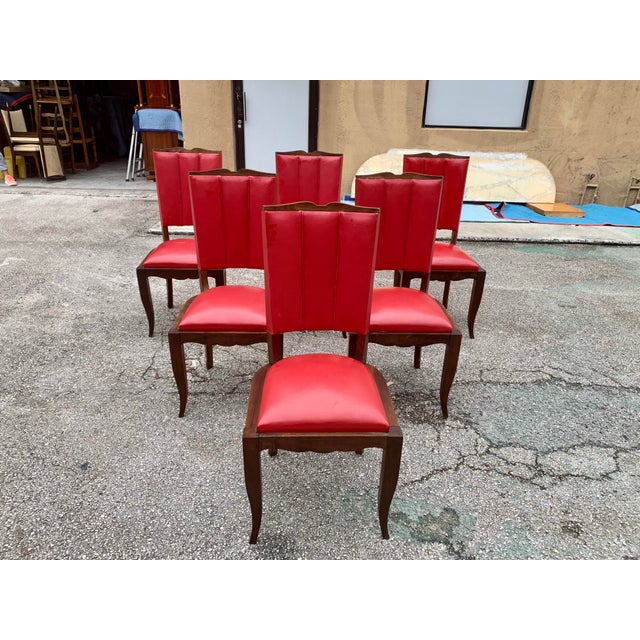 1940s Vintage French Art Deco Solid Mahogany Dining Chairs - Set of 6 For Sale - Image 13 of 13