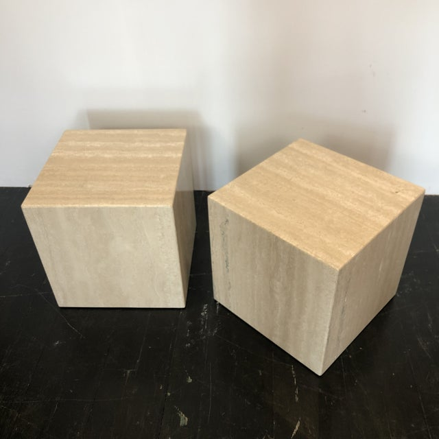 Stone Italian Marble Cube Side Tables - a Pair For Sale - Image 7 of 8