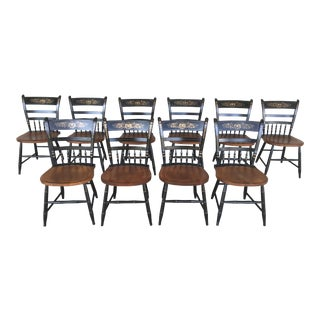 L. Hitchcock Country Sheraton Black Harvest Arrow Back Chairs - Set of 10 For Sale
