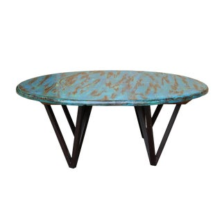 Low Round Distressed Blue Color Coffee Table With Iron Legs, Tea Table