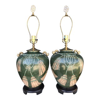 Vintage Hand Painted Tassel and Rope Lamps-A Pair For Sale