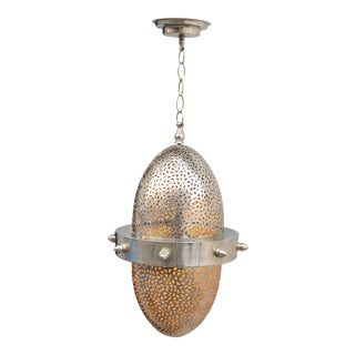 Silver Engraved Moroccan Ceiling Lantern For Sale