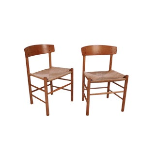 Pair Mid Century Borge Mogensen J39 Fdb Mobler Denmark Chairs For Sale