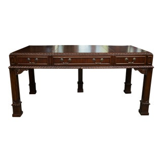 English Chippendale Style Mahogany Custom Bow Front Writing Table For Sale
