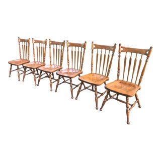 Ethan Allen Heirloom Nutmeg Arrowback Dining Chairs - Set of 6 For Sale