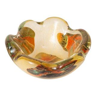 Italian Murano Avem Gol,Aventurine Glass Bowl With Floating Designs Vintage For Sale