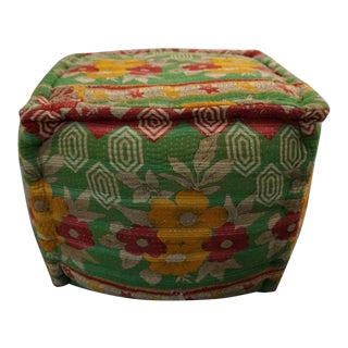 Kantha Indian Quilt Pouf