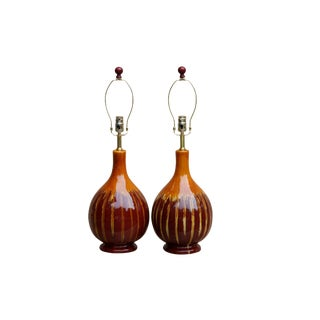 Drip Glaze Ceramic Table Lamps, a Pair