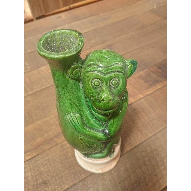Green Ceramic Monkey Vase For Sale - Image 4 of 5