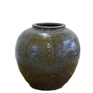 1940s Asian Antique Glazed Pottery Vase