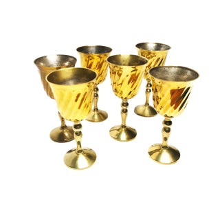 Vintage Mid Century Indian Tall Brass Wine Goblets- Set of 6 For Sale