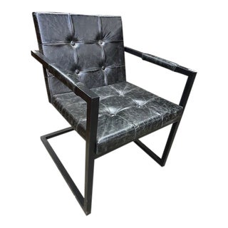 Modern Charcoal Leather Club Chair For Sale