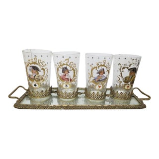 Antique Playing Card Motif, German Glasses and Tray - Set of 4 For Sale