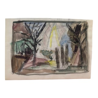 Mid-Century Modern Landscape Watercolor 1950s For Sale