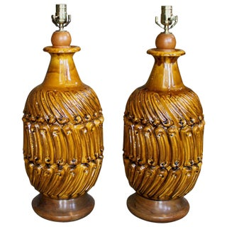 1970s Mid-Century Modern Figured Ceramic Table Lamps - a Pair For Sale