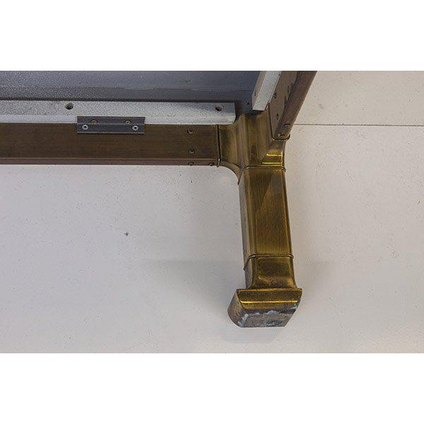 Gold Mastercraft Coffee Table With Faux Snake Skin Embossed Leather and Hefty Brass Legs For Sale - Image 8 of 10