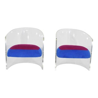 Pair of Barrel Back Club or Lounge Chairs, Vladimir Kagan Style