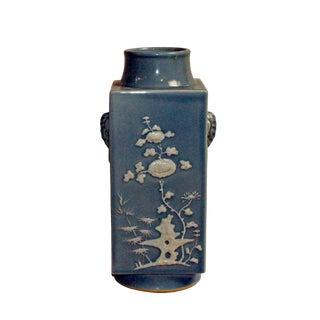 Handmade Square Pastel Blue White Flower Ceramic Vase For Sale