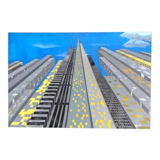 Vintage Original Skyscraper Painting Signed 1970's For Sale