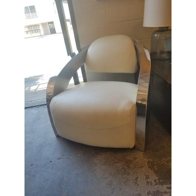 White Leather & Chrome Modern Aviator Chair