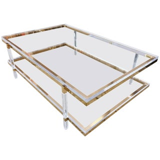 Two-Tier Coffee Table in Lucite and Polished Brass by Charles Hollis Jones For Sale