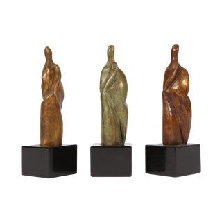 Group of Three Signed Modern Abstract Bronze Figures- in the Manner of Henry Moore