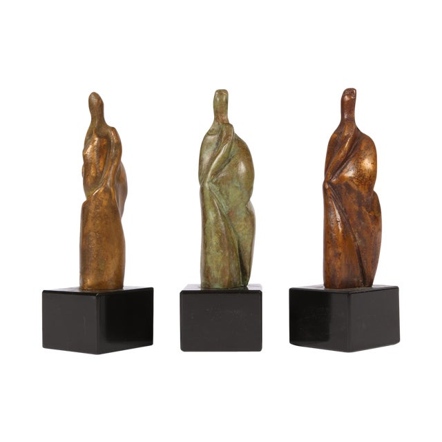 Group of Three Signed Modern Abstract Bronze Figures- in the Manner of Henry Moore For Sale
