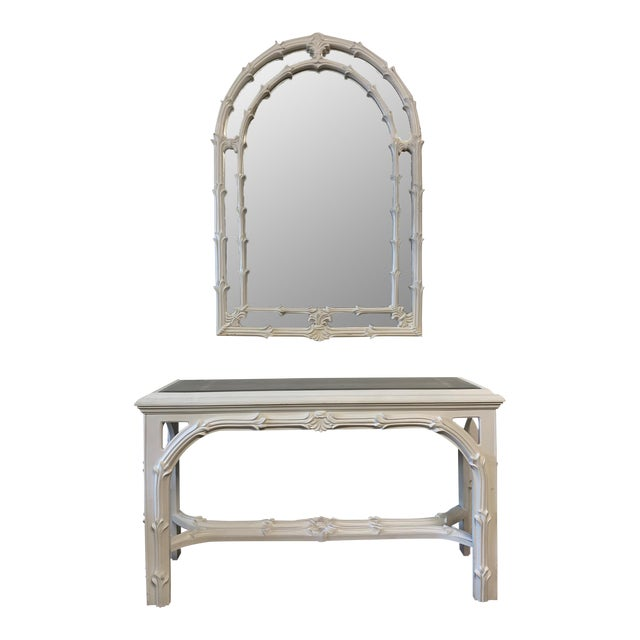 Roche Style Gampel Stoll Console Table and Mirror For Sale
