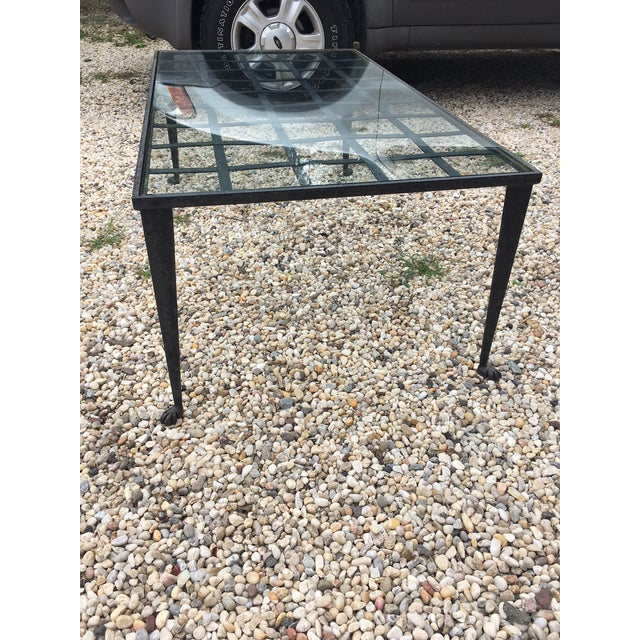 Brown 1990's Vintage Custom La Forge Francaise Forged Iron & Glass Coffee Table For Sale - Image 8 of 10
