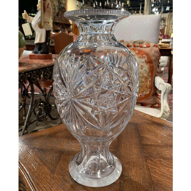 Glass Midcentury Clear Cut Glass Vase With Foliage and Star Motifs For Sale - Image 7 of 10