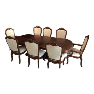 Dining Room Double Pedestal Table with 8 Chairs For Sale