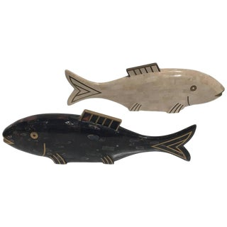 Pair of Maitland-Smith Tessellated Coral and Horn Fish Sculptures For Sale