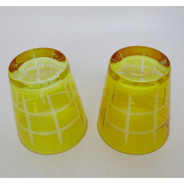 Late 20th Century Etched Double Old Fashioned Glasses - A Pair For Sale - Image 5 of 5