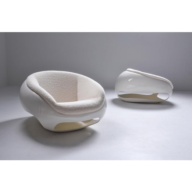 Postmodern pair of lounge chairs by Italian designer Mario Sabot. The design was inspired by the GT series of Ferrari in...